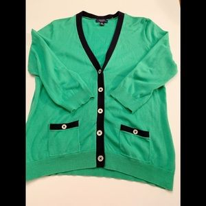 Chaps green cardigan with navy blue trim